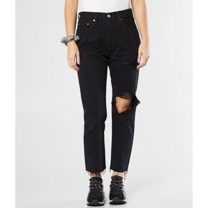 Levi's Black 501 Original Cropped Ripped Jeans 28